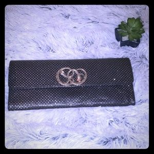 Noir envelope clutch